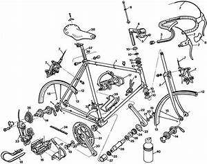Raleigh Team Professional Dl185 Bicycle Exploded Drawing