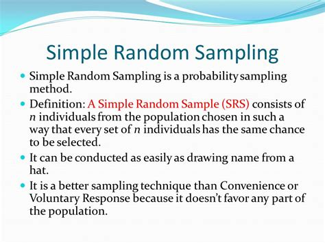 Section 73  Simple Random Samples  Ppt Video Online Download