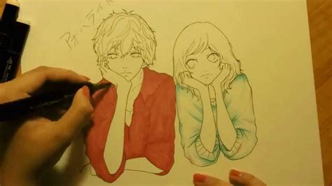 drawing futaba and kou from ao haru ride blue spring ride youtube