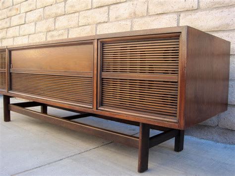 Sylvania Record Player Cabinet by Sold Mid Century Wood Stereo Console Tv Credenza