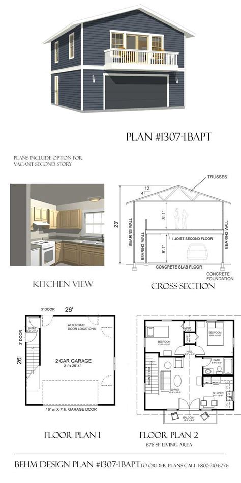 one garage apartment floor plans 2 car garage plan with two apartment 1307 1baptbehm