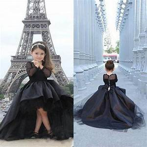 Black Pageant Dresses For Girls High Low Long Sleeves Flower Girl Dresses Toddlers Teens Kids
