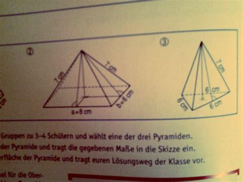 koerper rechteckige und dreieckige pyramide oberflaeche