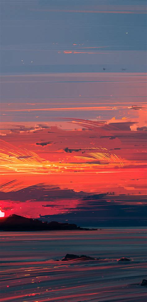 Download 1440x2960 Sunset, Lighthouse, Ocean, Painting
