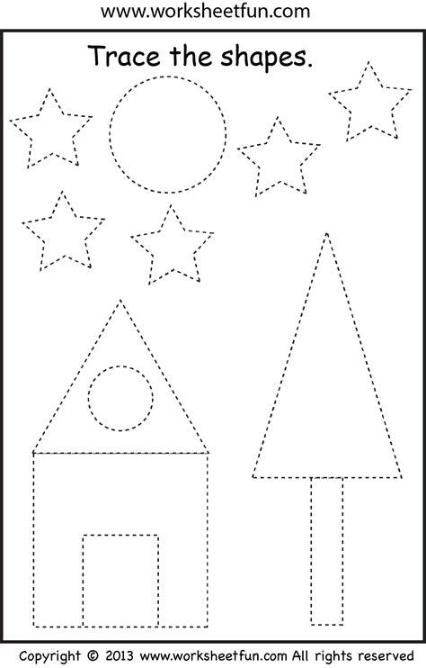 preschool shape tracing worksheet worksheets shapes