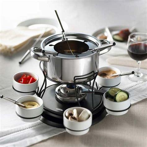 trudeau    lazy susan stainless steel fondue set  piece cutlery