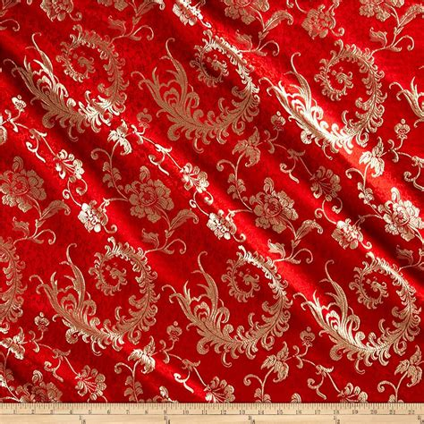 Chinese Brocade Luck Red Gold Discount Designer Fabric
