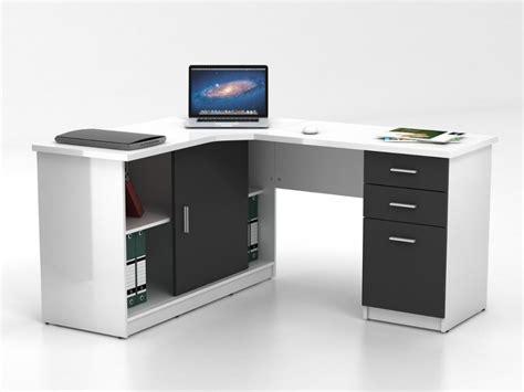 bureau d angle blanc bureau d 39 angle norwy 2 portes 2 tiroirs blanc gris
