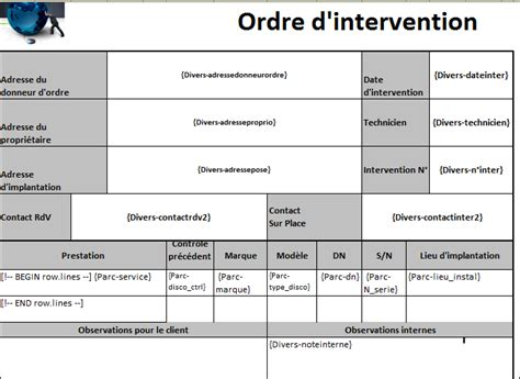 modèle fiche intervention technique gestion des interventions