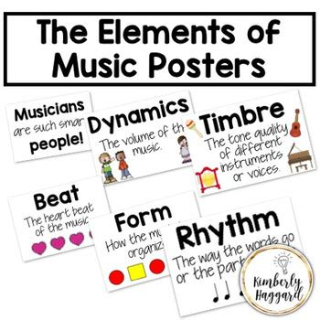 Music can be analysed by considering a variety of its elements, or parts (aspects, characteristics, features), individually or together. The Elements of Music Posters by Kimberly Haggard | TpT