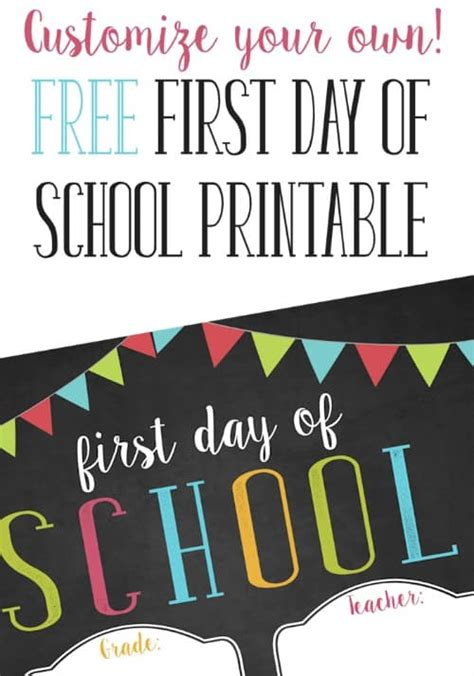 day of school sign template free customizable day of school printable
