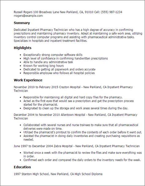 21862 pharmacy technician resume template professional inpatient pharmacy technician templates to