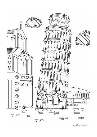 Adult Coloring Pages Colouring Tower Printable Pisa
