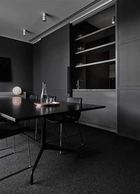 Black Parisian Interior Design Home Office by Lechte Office Fitout In Melbourne By Plus Architecture