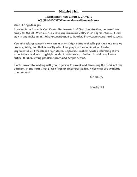 outstanding call center representative cover letter