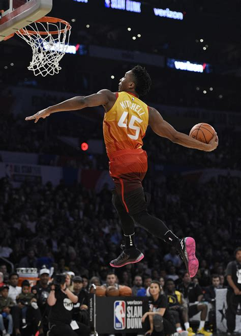 donovan mitchell soars  dunk title devin booker sets