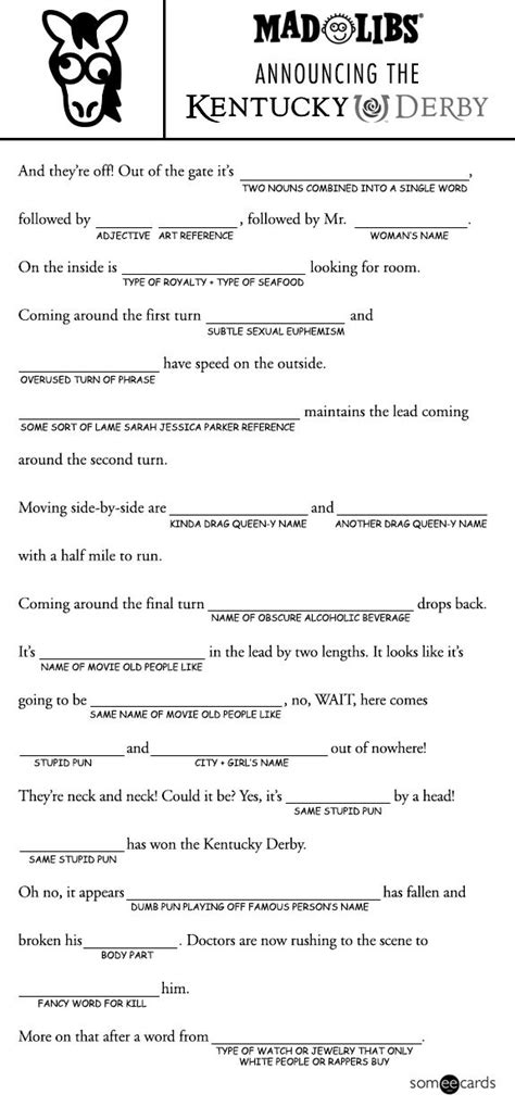 mad libs template   kentucky derby youve barely