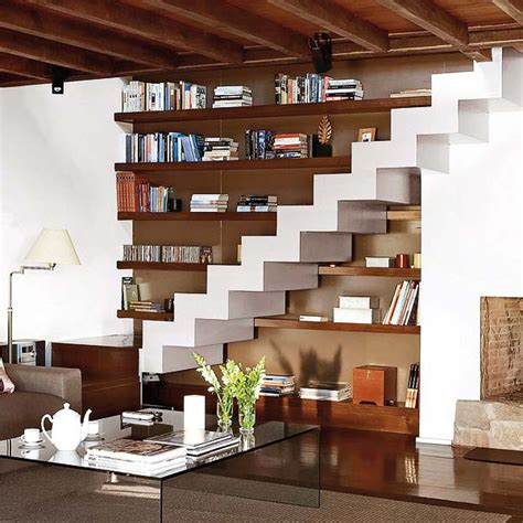 clever  stairs storage space ideas