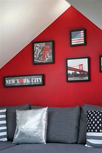 best chambre ado fille gris et rouge photos design With chambre new york ado fille