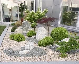 Gartengestaltung mit kies bilder garten steine kies garten for Französischer balkon mit deko aus stein für garten