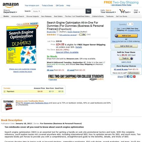 Search Engine Marketing For Dummies by Search Engine Optimization All In One For Dummies