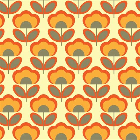 Floral Retro 70s Wallpaper Free Stock Photo Public