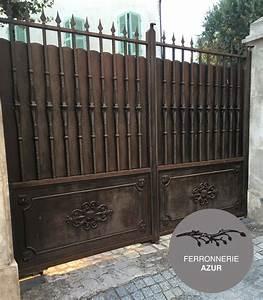 Portail Fer Forgé Plein : fabrication porte portail et portillon en fer plein nice 06 ~ Dode.kayakingforconservation.com Idées de Décoration