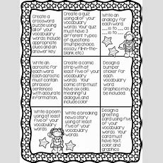 Vocabulary Activities  Choice Menus  Pinterest  Activities, Assessment And Vocabulary