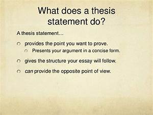 what does a thesis statement have to include