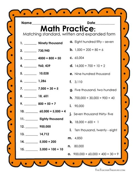 standard form worksheet grade 4 no prep common