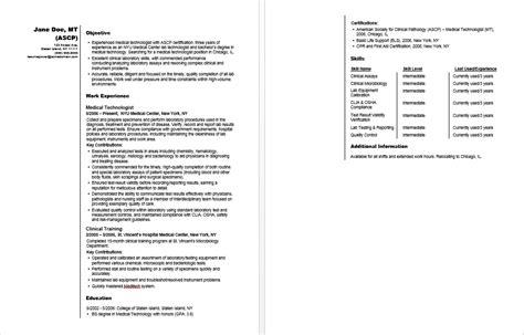 technologist sle resume