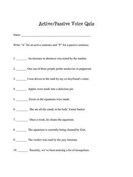 active voice and passive voice worksheets quiz and keys