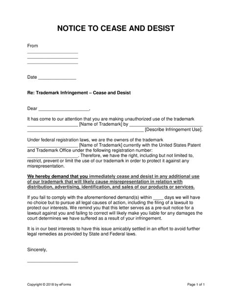 cease  desist letter trademark infringement template