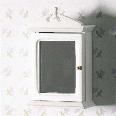 White Bathroom Cabinet With Mirror by The Dolls House Emporium White Bathroom Cabinet With Mirror