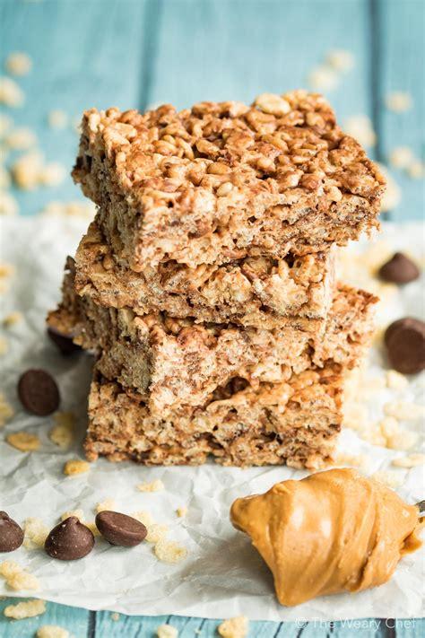 peanut butter treats chocolate peanut butter rice krispie treats the weary chef
