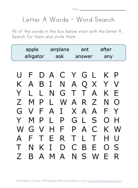 letter a word search places to visit word