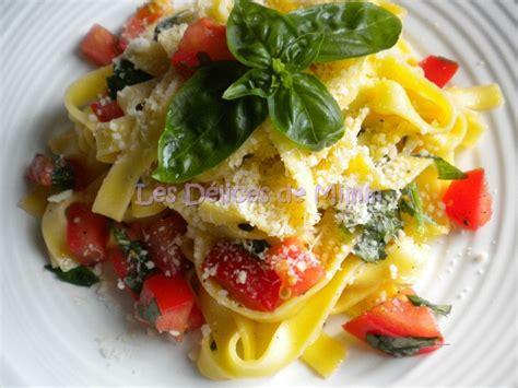 tagliatelles aux tomates crues ail et basilic les d 233 lices de mimm