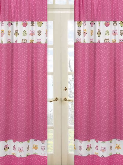 Sweet Jojo Owl Curtains by Pink Owl Bedding Comforter Set Collection