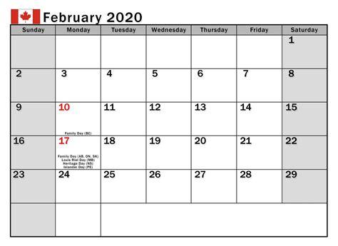 february  calendar canada bank holidays