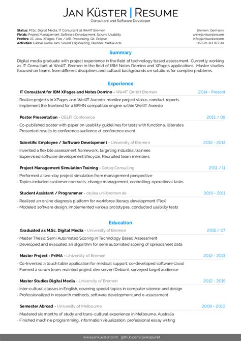 latex template for modern cv and resumes by jan kuester