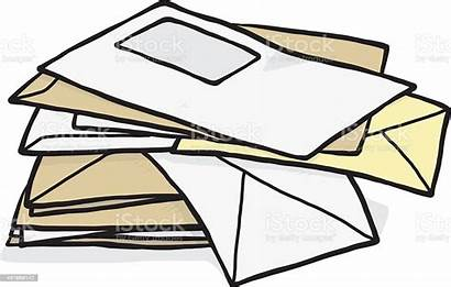 Envelope Pile Clipart Vector Clip Envelopes Illustration