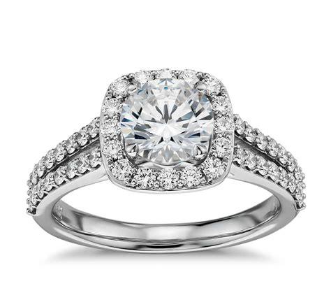 split shank halo diamond engagement ring in 14k white gold 3 8 ct tw blue nile