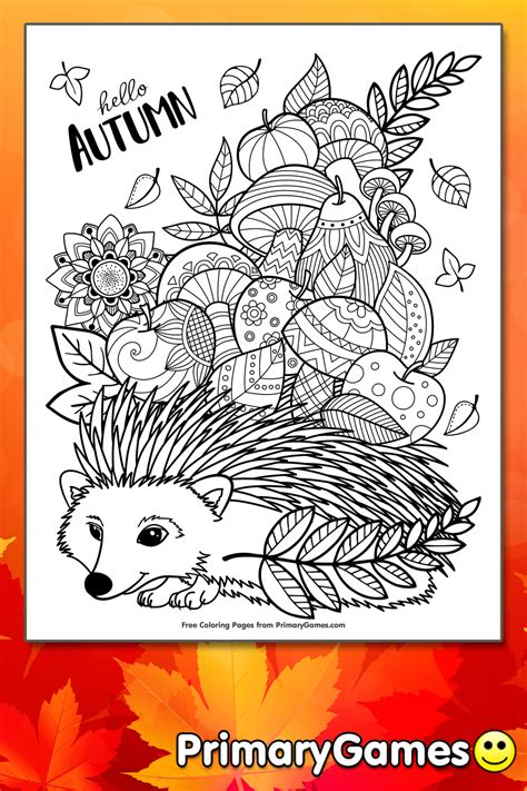 autumn zentangle coloring page printable fall coloring  primarygames