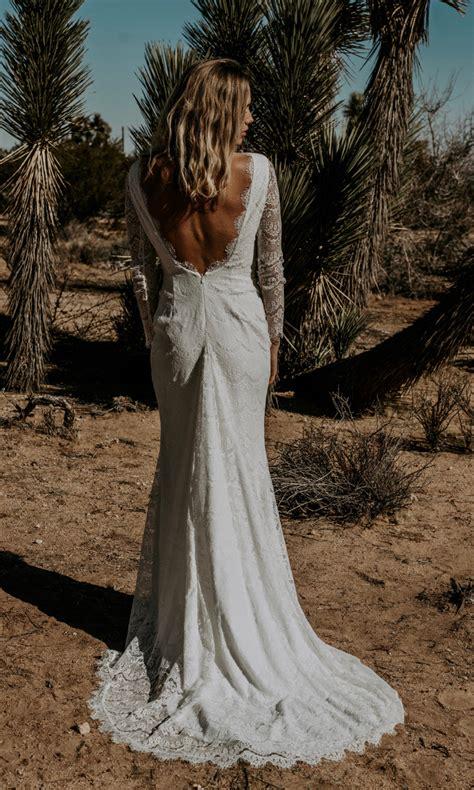 Tessa Boho Bridal Gown Long Sleeve Lace Backless