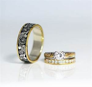 vintage engraved two tone wedding band ambrosia With engagement ring with two wedding bands