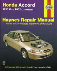 auto repair manual online 2002 honda accord instrument cluster 1998 2002 honda accord haynes repair manual