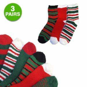 3 Pairs Christmas Fuzzy Socks $3 99 Free Shipping