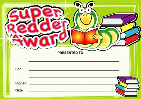 Super Reader Award Certificates