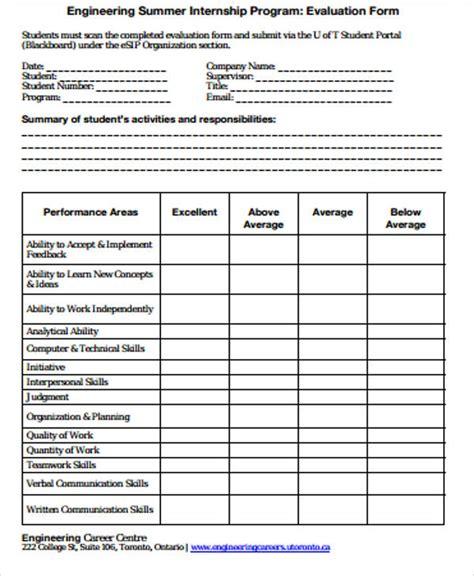internship program template 9 sle program evaluation forms sle templates