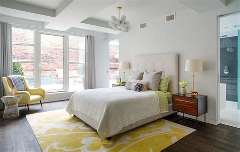 Yellow Area Rug Bedroom Contemporary With Ceiling Light